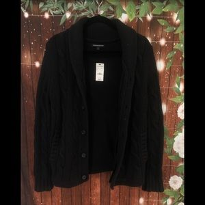 NWT express mens thick knit black cardigan size S